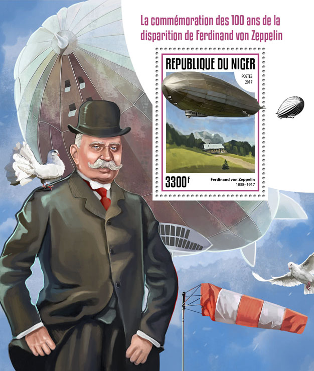 Ferdinand von Zeppelin - Issue of Niger postage stamps