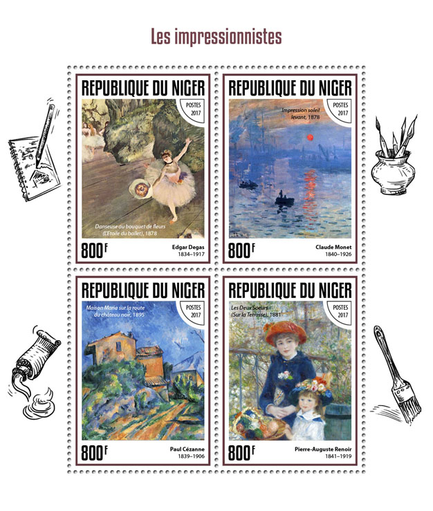 The impressionists - Issue of Niger postage stamps