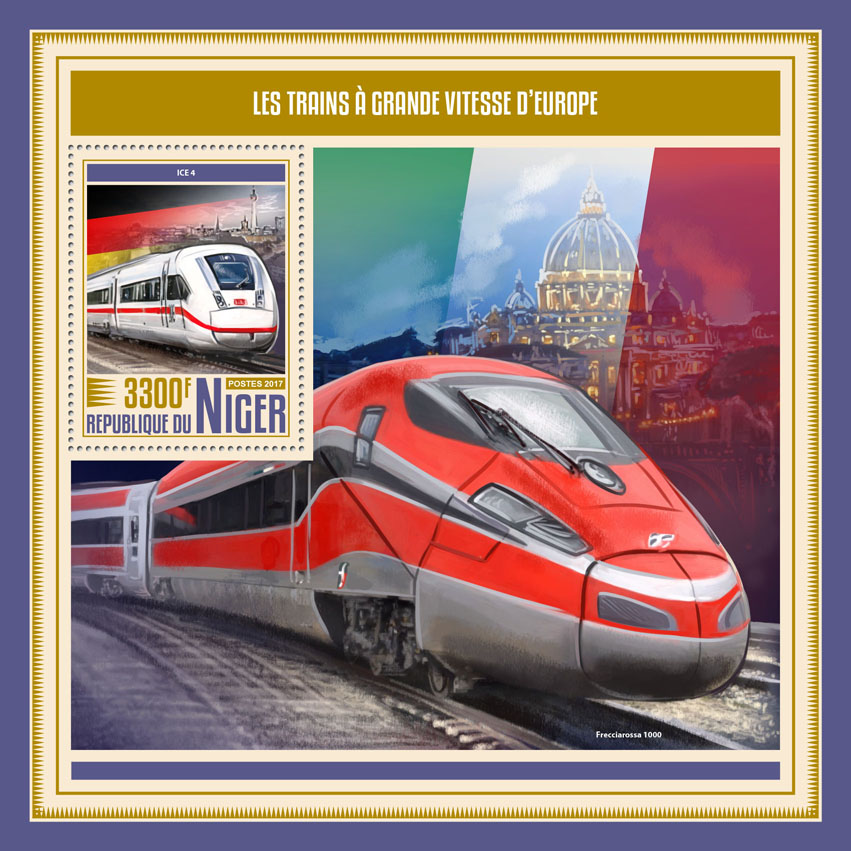 European speed trains - Issue of Niger postage stamps