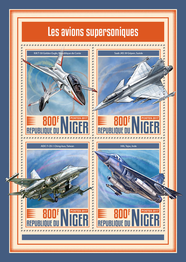 Supersonic aircrafts - Issue of Niger postage stamps