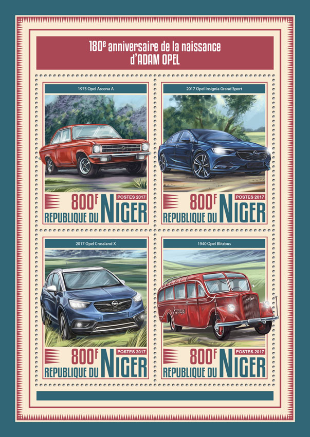 Adam Opel - Issue of Niger postage stamps