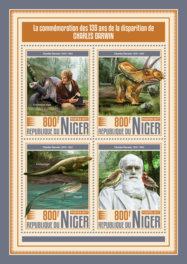 Charles Darwin - Issue of Niger postage stamps