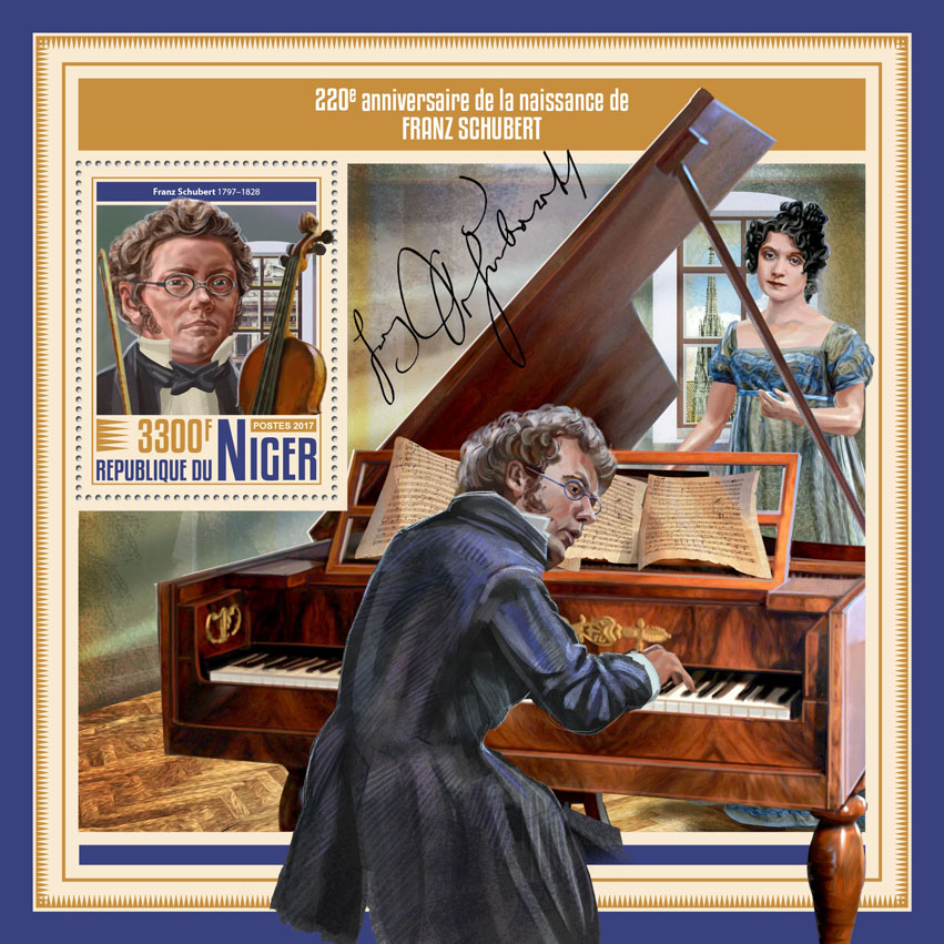 Franz Schubert - Issue of Niger postage stamps