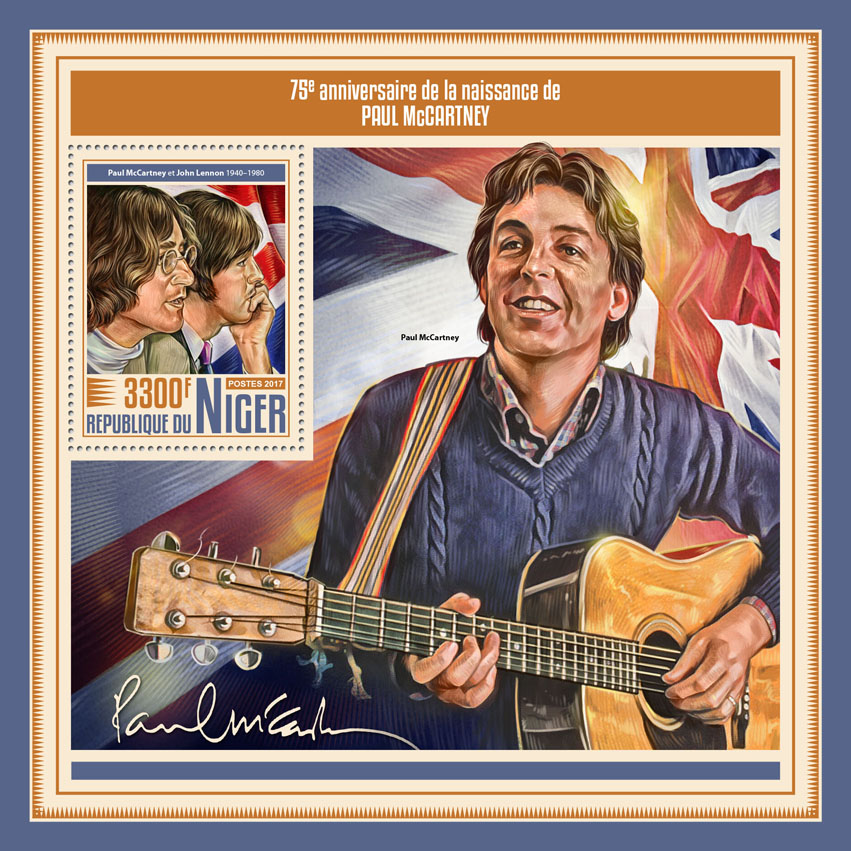 Paul McCartney - Issue of Niger postage stamps