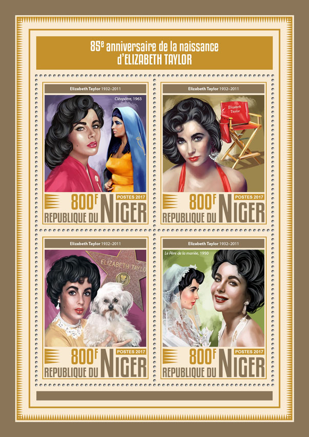 Elizabeth Taylor - Issue of Niger postage stamps
