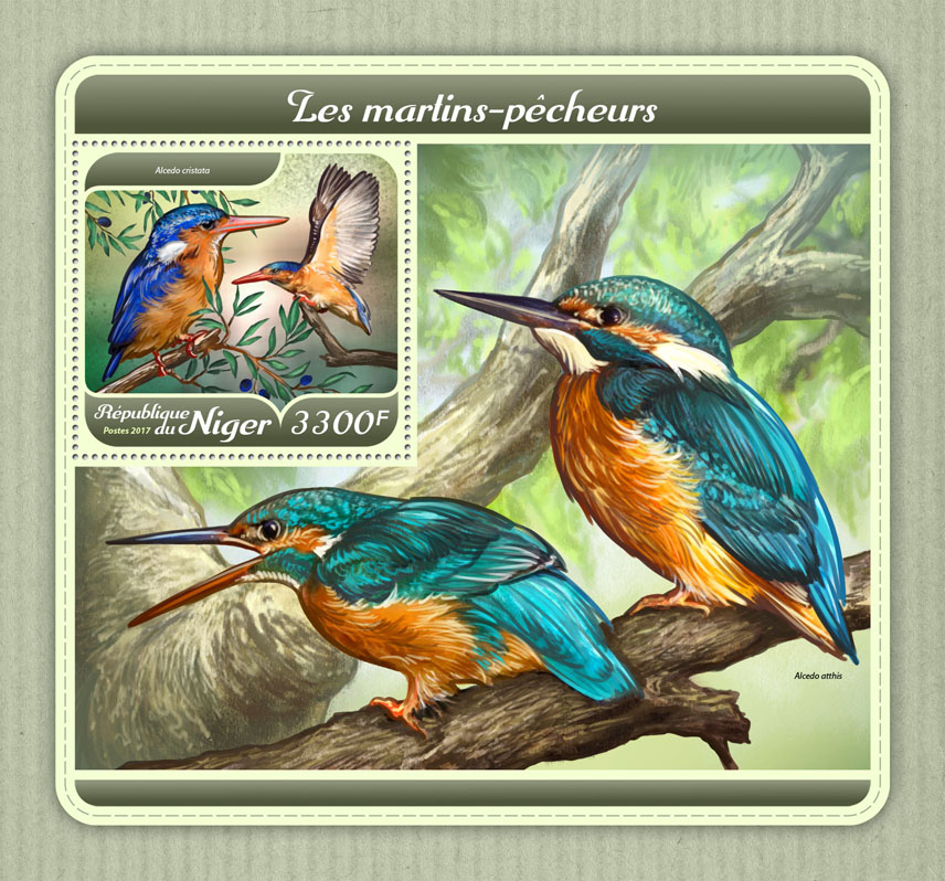 Kingfishers - Issue of Niger postage stamps