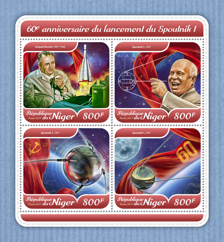 Sputnik 1 - Issue of Niger postage stamps