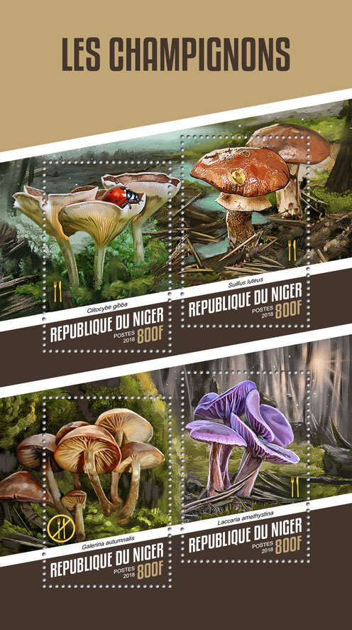 Mushrooms - Issue of Niger postage stamps