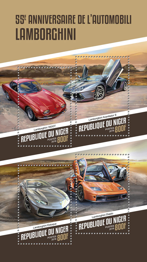 Automobili Lamborghini - Issue of Niger postage stamps