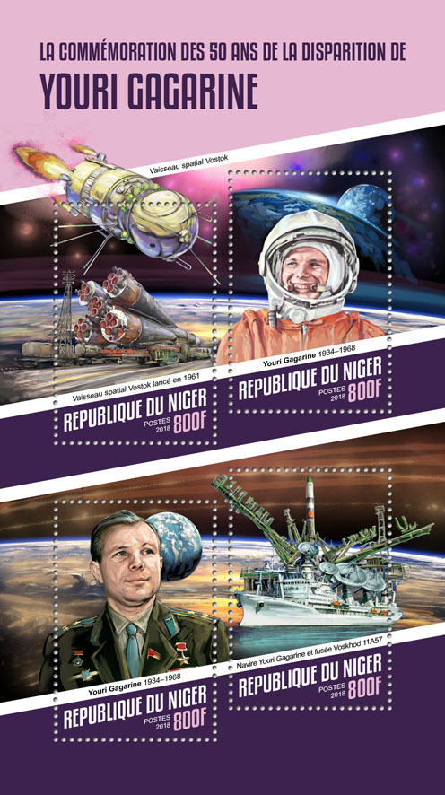 Yuri Gagarin - Issue of Niger postage stamps