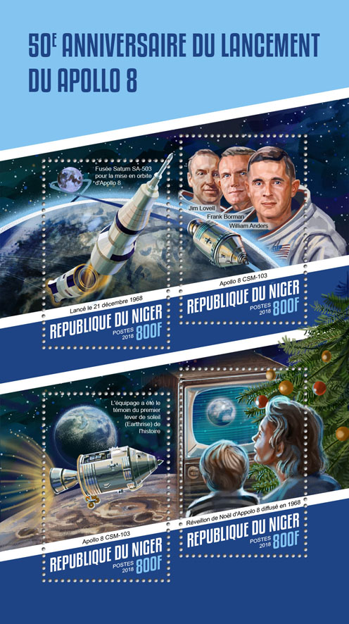 Apollo 8 launch - Issue of Niger postage stamps
