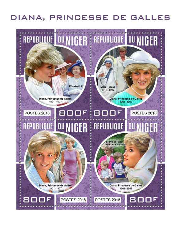 Diana - Issue of Niger postage stamps