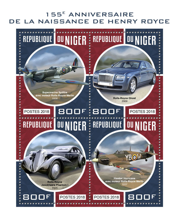 Henry Royce - Issue of Niger postage stamps