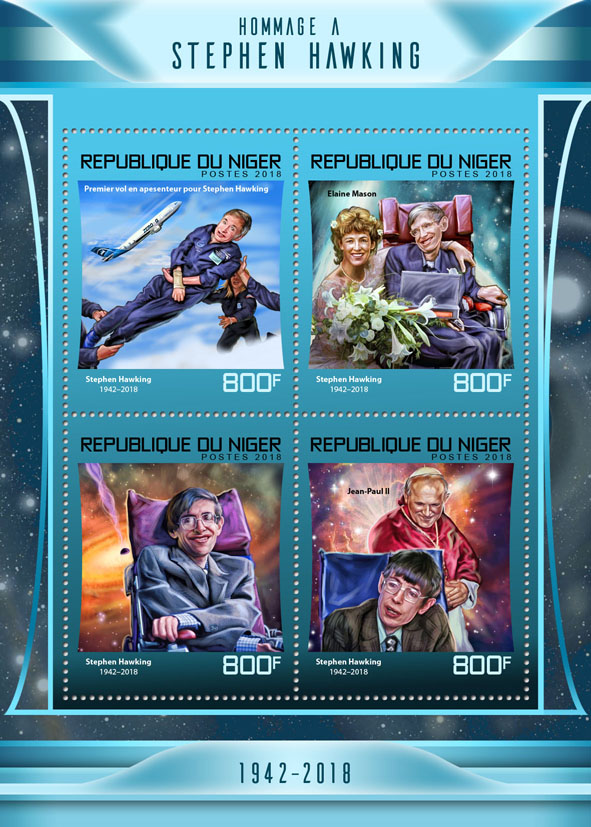 Stephen Hawking - Issue of Niger postage stamps