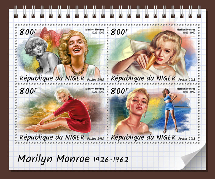Marilyn Monroe - Issue of Niger postage stamps