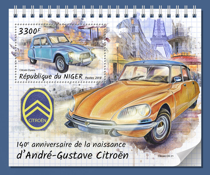 Andre-Gustave Citroen - Issue of Niger postage stamps
