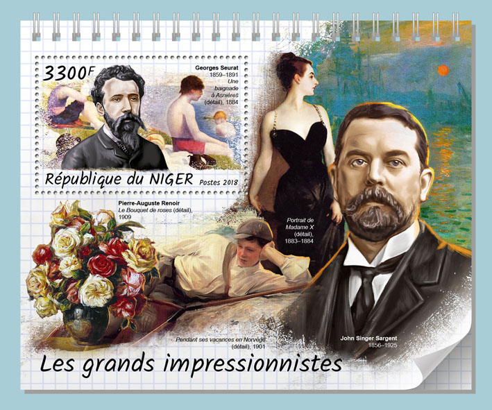 Great impressionists  - Issue of Niger postage stamps