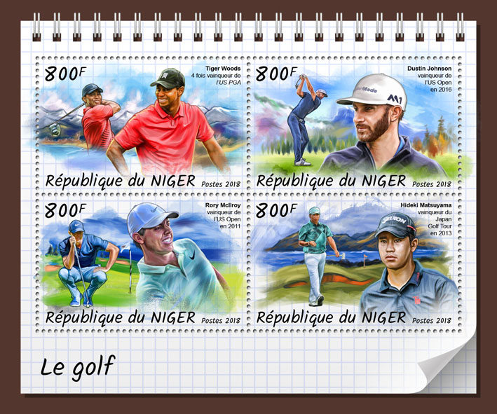 Golf - Issue of Niger postage stamps