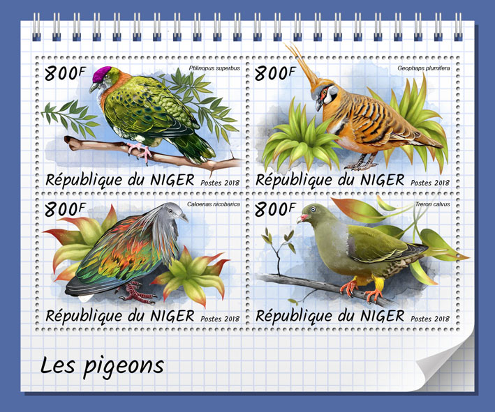 Pigeons - Issue of Niger postage stamps