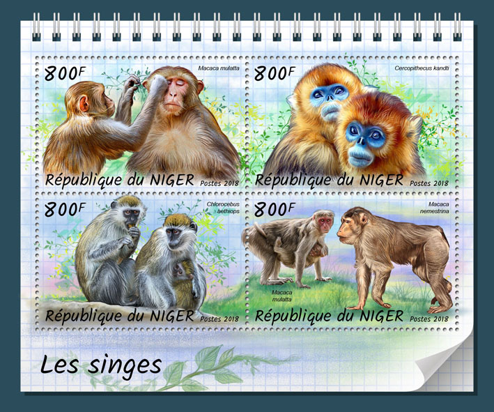 Monkeys - Issue of Niger postage stamps