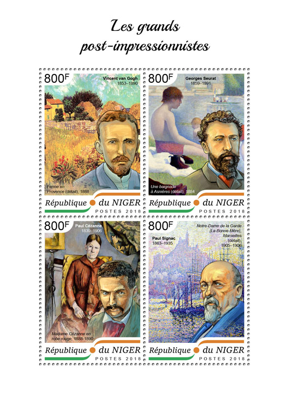 The great post impressionists - Issue of Niger postage stamps