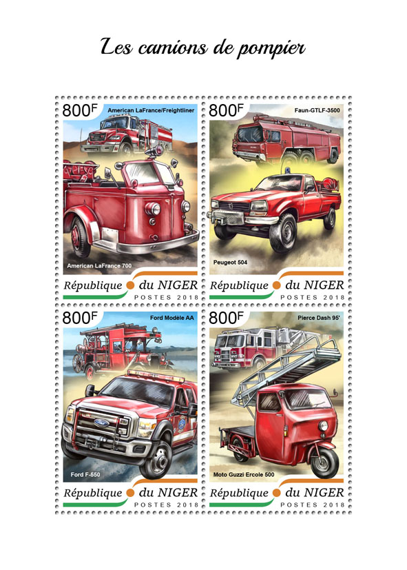 Fire engines - Issue of Niger postage stamps