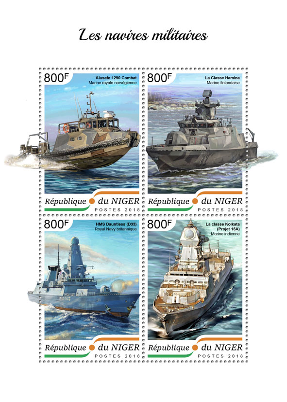 Military ships - Issue of Niger postage stamps