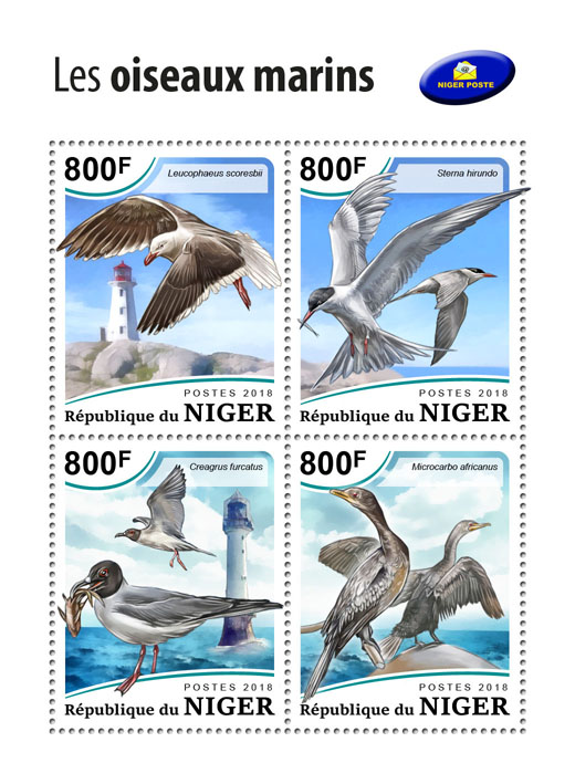 Sea birds - Issue of Niger postage stamps