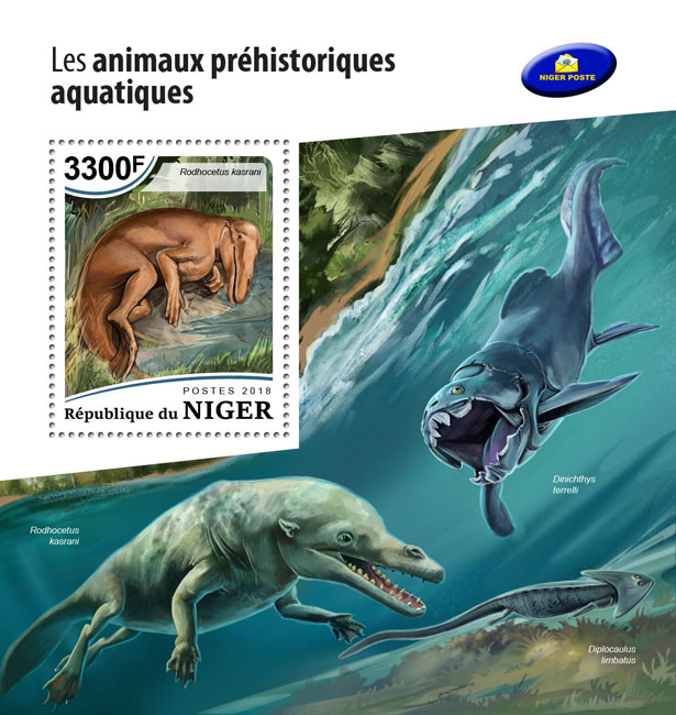 Prehistoric water animals - Issue of Niger postage stamps