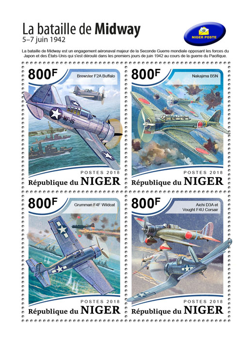 The battle of Midway - Issue of Niger postage stamps