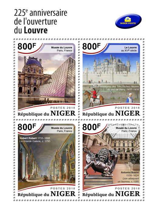 Opening of Louvre - Issue of Niger postage stamps