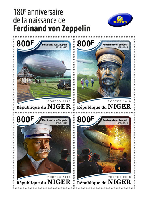 Ferdinand von Zeppelin - Issue of Niger postage stamps
