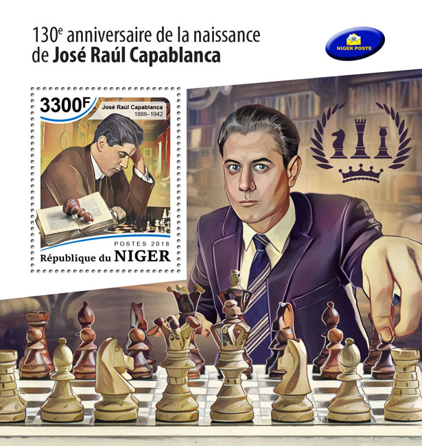 Jose Raul Capablanca - Issue of Niger postage stamps