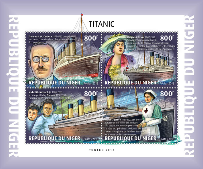 Titanic - Issue of Niger postage stamps