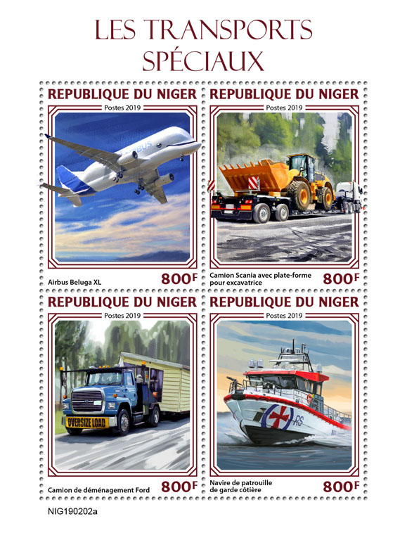 Special transport - Issue of Niger postage stamps