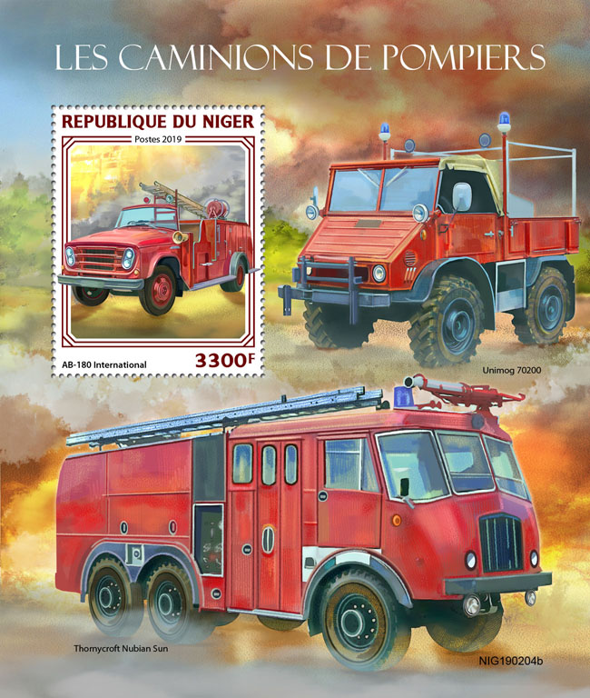 Fire engnines - Issue of Niger postage stamps