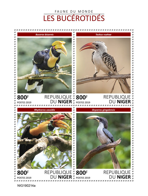 Hornbills - Issue of Niger postage stamps