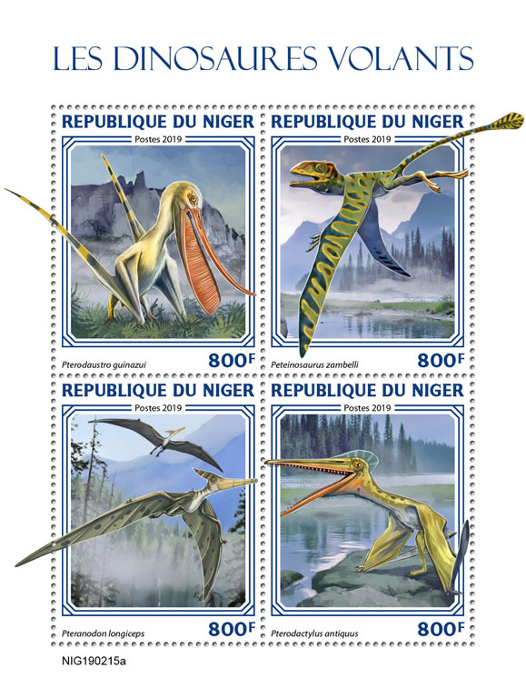 Flying dinosaurs - Issue of Niger postage stamps