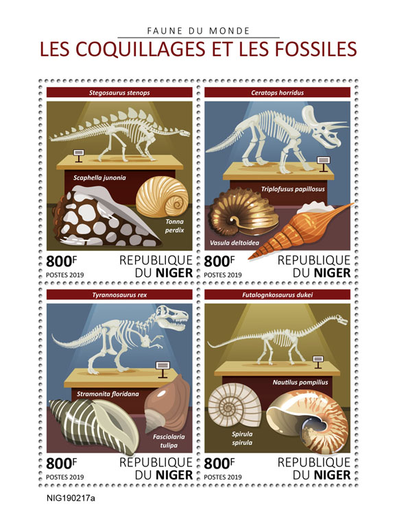 Shells and fossils - Issue of Niger postage stamps