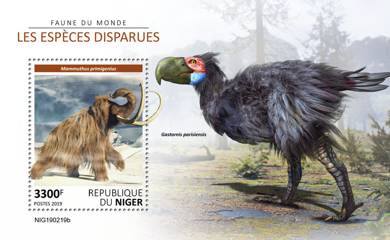 Extinct species - Issue of Niger postage stamps