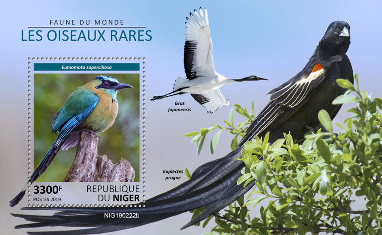 Rare birds - Issue of Niger postage stamps
