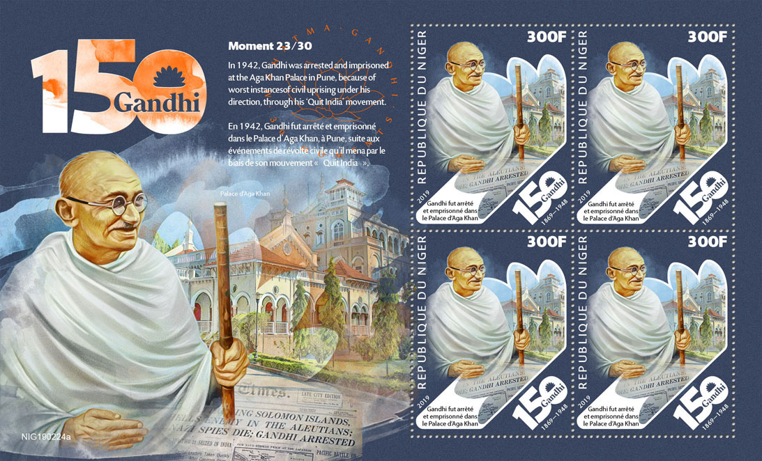 Mahatma Gandhi moments - Issue of Niger postage stamps