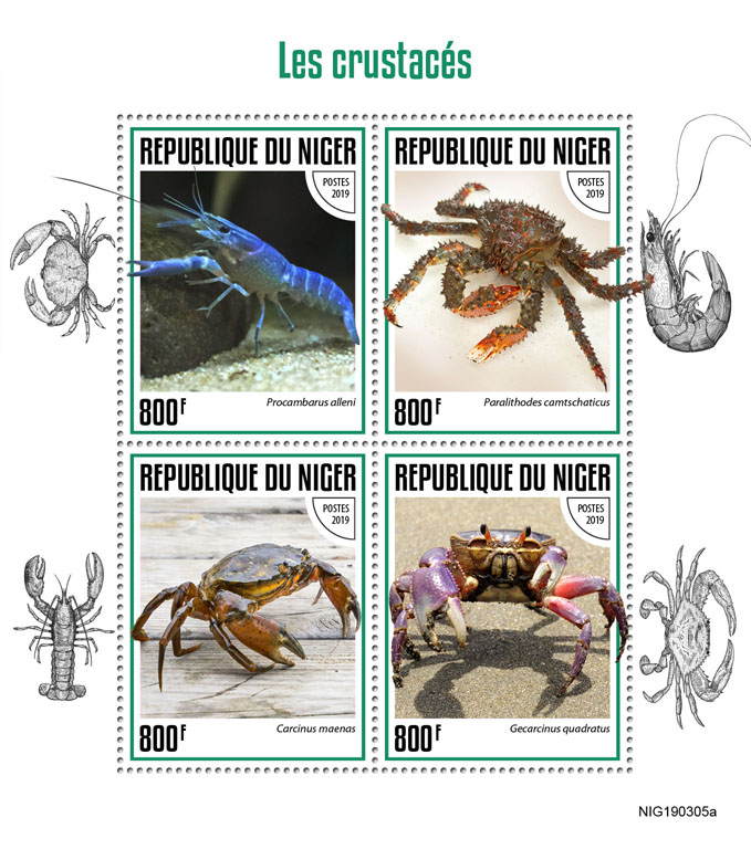 Crabs - Issue of Niger postage stamps