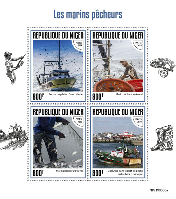 Fishermen - Issue of Niger postage stamps