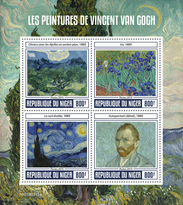 Vincent van Gogh - Issue of Niger postage stamps