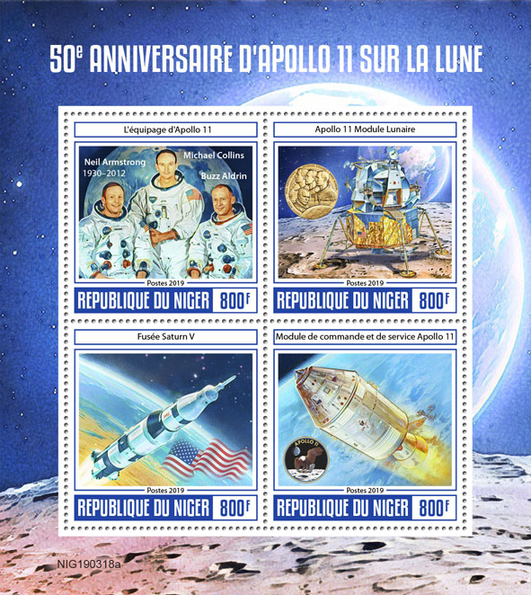 Apollo 11 - Issue of Niger postage stamps