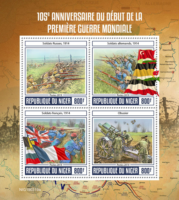 First World War  - Issue of Niger postage stamps