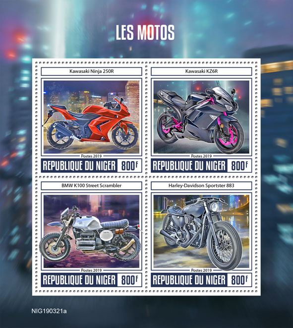 Motorcycle - Issue of Niger postage stamps