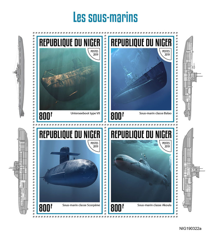 Submarines - Issue of Niger postage stamps