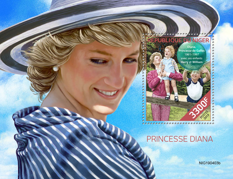 Princess Diana - Issue of Niger postage stamps